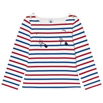 Petit Bateau Navy, White and Red Striped T-Shirt
