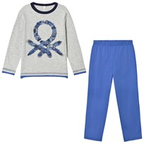 United Colors of Benetton Grey and Blue Pyjama Set Blue/grey
