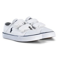 Ralph Lauren White Canvas Velcro Trainers with Navy Pony White