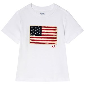 Image of Ralph Lauren White US Flag Applique Tee 5 years (3009900957)