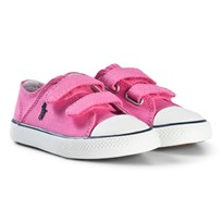 Ralph Lauren Pink Canvas Velcro Trainers with Navy Pony BAJA PINK