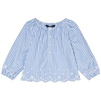 Ralph Lauren Blue and White Poplin Bengal Stripe Off the Shoulder Eyelet Top 002