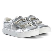 Ralph Lauren Silver Metallic Velcro Trainers with White Pony Silver