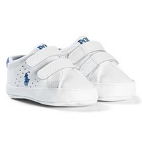 Ralph Lauren White Leather Velcro Crib Shoes with Pale Blue Pony WHITE W/ BLUE