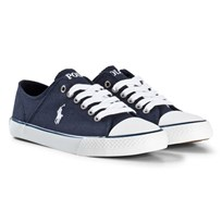 Ralph Lauren Navy Laced Canvas Trainers with White Pony Marinblå