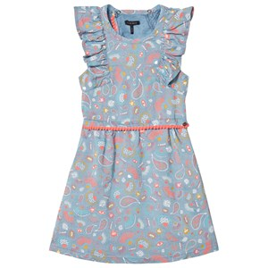 Image of IKKS Blue All Over Print and Neon Pom Pom Detail Dress 10 years (3040604005)