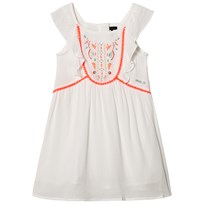 IKKS White Neon Embroidered and Pom Pom Dress 19