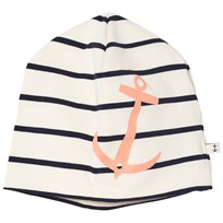 Emma och Malena Anchor Beanie Stripe Peach Stripe