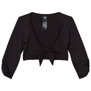 Image of Mirella Black 3/4 Sleeve Tie Front Top with Mesh Bands 12-14 years (3009896975)
