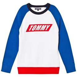 Tommy Hilfiger White Colour Block Branded Sweater