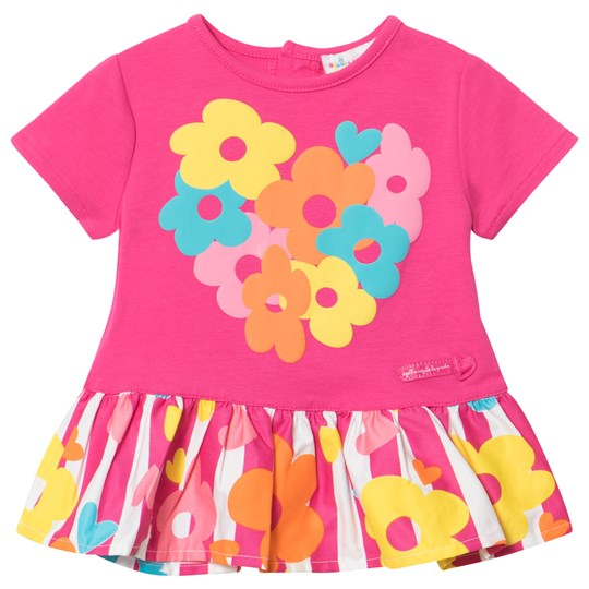 Agatha Ruiz de la Prada Pink Dress With Striped Bottom and Multi Coloured Heart Print XYZ