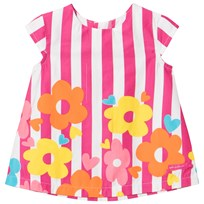 Agatha Ruiz de la Prada Pink Striped Dress With Multi Colored Flower Print XYZ