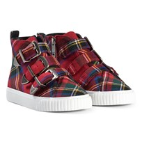 Burberry Red Tartan Buckle and Zip High Top Trainers Bright Red