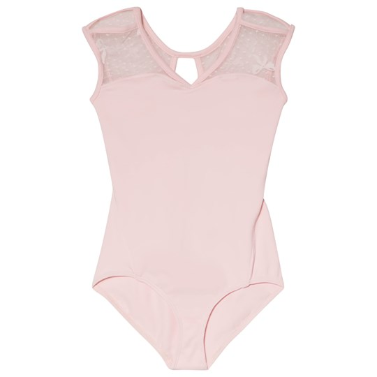 Bloch Pink Coralie V Neck and Bow Mesh Back Leotard Pink