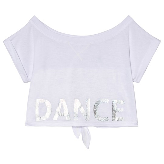 Bloch White Nikita Crop Tee with Tie Back Grey Marl