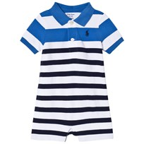 Ralph Lauren Blue and White Stripe Pique Romper 001
