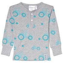Geggamoja Gray and Blue Bamboo Tractor Print Sweater Tractor