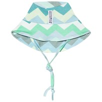 Geggamoja Blue and Green Zig-Zag Sun Hat Zick zack blue