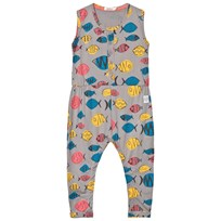 Indikidual Grey Multicolor Fish Jumpsuit Black