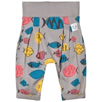 Indikidual Grey Multicolor Fish Harem Pants Black