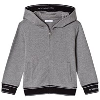 Dolce & Gabbana Gray Marl Hoodie with Branded Trims S8291