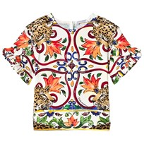 Dolce & Gabbana Multicolored Majolica Print Frill Sleeve Top HHI85
