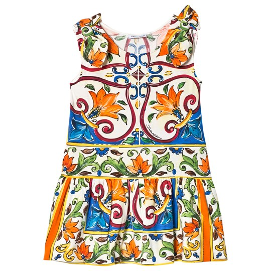 Dolce & Gabbana Multicolored Majolica Print Bow Shoulder Jersey Dress HW681