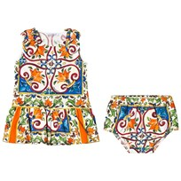 Dolce & Gabbana Multicolored Majolica Print Dress and Bloomers Set HW681
