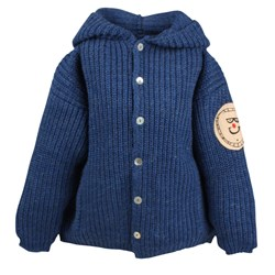 Bobo Choses Knitted Hooded Cardigan Blue