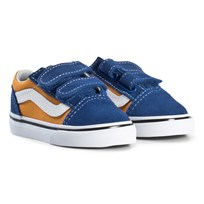 Vans Old Skool Velcro Shoes Blue and Gold (Pop) og blue/og gold