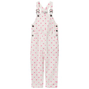 Image of Stella McCartney Kids Exclusive White Neon Pink Embroidered Star Dungarees 8 years (2844036245)
