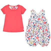 Tom Joule Floral Romper Suit and Coral Tee Set BEACH DITSY