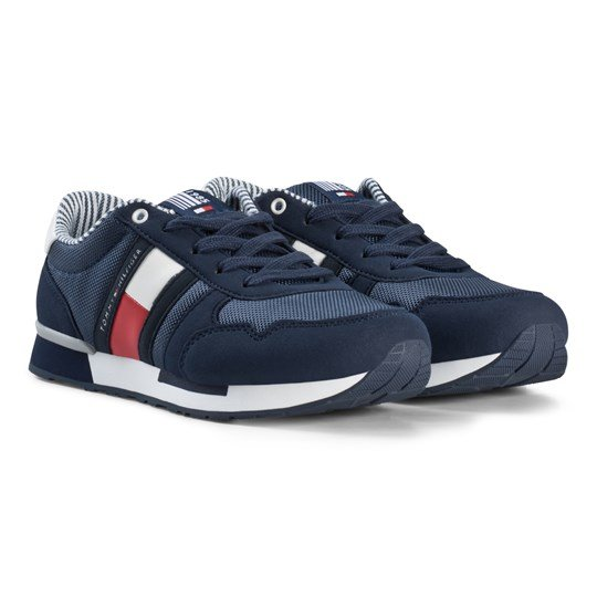 Tommy Hilfiger Navy and White Branded Lace Sneakers X043