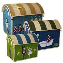 Rice Set of 3 Toy Baskets with The Steadfast Tin Soldier Theme Blå