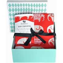 Littlephant Jersey Blanket & Baby Comforter Set Elephant - Red/Grey Punainen