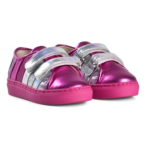Image of Minna Parikka Hot Pink and Silver with Multi Coloured Stripes Sneakers 22 (UK 5.5) (3013782465)