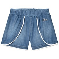 Guess Blue Chambray Shorts with White Pom Pom Trim LGTB
