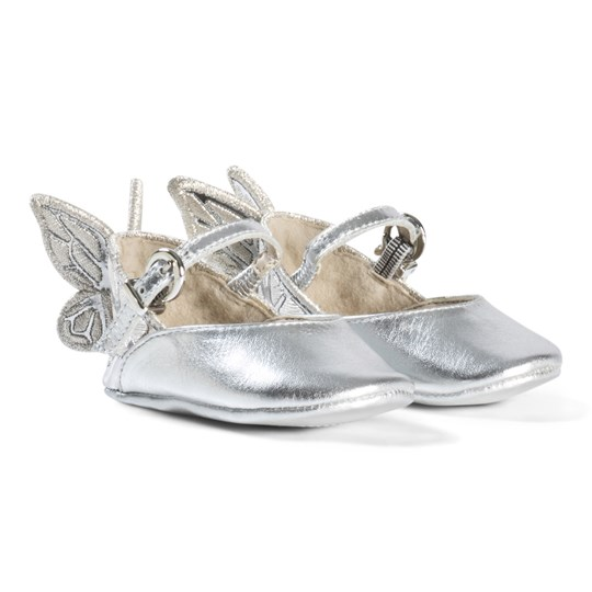 Sophia Webster Mini Silver Embroidered Butterfly Chiara Baby Shoes Silver