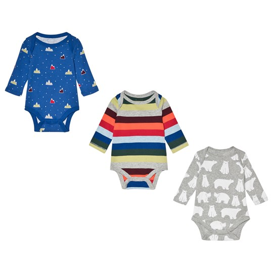 GAP Blue, Multicolored Stripe and Gray Pack of 3 Baby Bodies Classic Multi Stripe