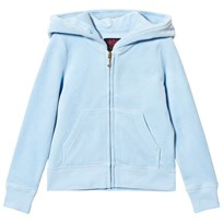 Juicy Couture Ice Blue Diamante and Glitter Crest Velour Hoody 456 Blue