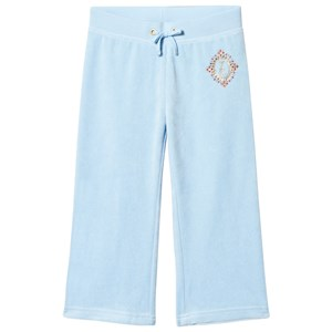 Image of Juicy Couture Ice Blue Diamante and Glitter Crest Velour Track Pants 8 years (3013782657)