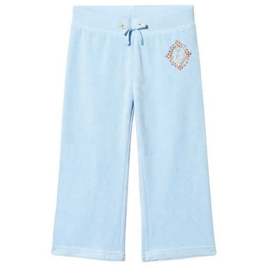 Juicy Couture Ice Blue Diamante and Glitter Crest Velour Track Pants 456 Blue