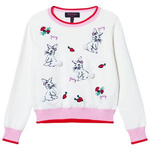 Image of Juicy Couture Cream Bunny Embroidered Jumper with Pom Pom Tails 10 years (3013781639)