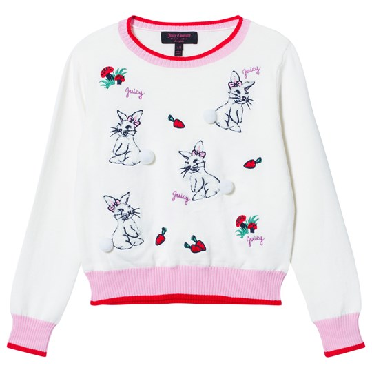 Juicy Couture Cream Bunny Embroidered Jumper with Pom Pom Tails 160 Vanilla