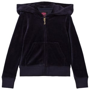 Image of Juicy Couture Navy Princess Glitter and Diamante Crest Velour Track Hoody 2-3 years (3013783159)