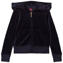 Juicy Couture Princess Glitter and Diamante Crest Velour Track Huvtröja Marinblå 419 Regal