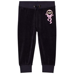 Juicy Couture Navy Princess Glitter and Diamante Crest Velour Track Pants