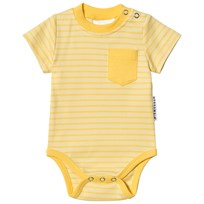 Geggamoja Short Sleeve Baby Body Light Yellow/Soft Yellow L.yellow/s.yellow