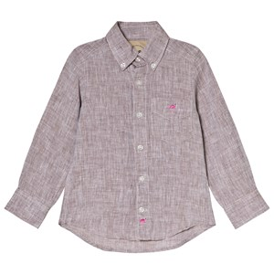 Image of OAS Brown Flamingo Linen Shirt 10 år (3001100383)