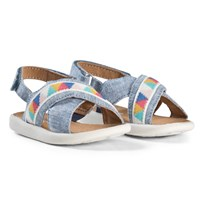 Toms Blue Slub Chambray Geo Tiny TOMS Viv Sandals Blue